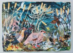 Mark Hearld - Autumn Partridges. Collage. image size 77 x 56cm. £895 framed