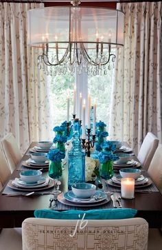 Lovely tablescape napkin roses in water glasses #Turquoise #Interiors  Turquoise Home #Decor
