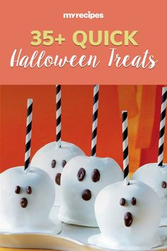 Easy Halloween treats, appetizers, and desserts are the best way to celebrate this spooky holiday. Create scary-good Halloween treats in minutes by using prepared products—we'll show you how! Start with store-bought cupcakes, bagged candy corn, and even canned pizza crust to create Halloween treats, Halloween cocktails, and Halloween appetizers that are ideal for your Halloween party. #halloweentreats #halloween #easyhalloweentreats