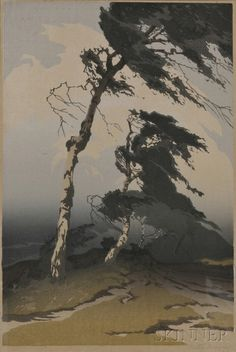 Oscar Droege, color woodcut