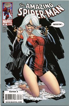 The Black Cat on the cover of Amazing Spider-Man 607, signed by artist J. Scott Campbell.