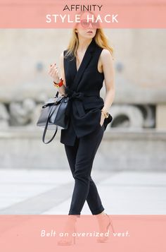This smart look is a snap to pull off. Leaving your vest unbuttoned, cross one side over the other in the front, and fasten with a belt. A classic carryall and a cuff bracelet complete the look.
