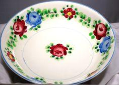 Vintage Made In Occupied Japan Moriyama Large Hand Painted Floral Bowl 1945 - 52