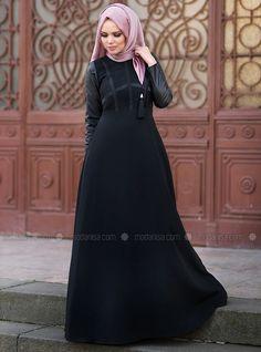 0c3a03b227caf City Style Elbise - Siyah - Muslima Wear Black Abaya