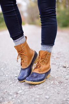 navy bean boots, navy duck boots, preppy duck boots, thick wool socks, preppy…
