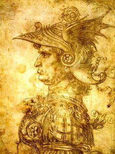 A Warrior in a Helmet by Leonardo da Vinci, 1472