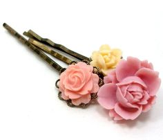 Floral sunset bobby pin set.