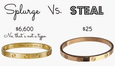 Splurge vs. Steal PTMT Edition! Seriously considering that LOVE bracelet look-alike because it is SPOT ON. (Plus I <3 PTMT.)