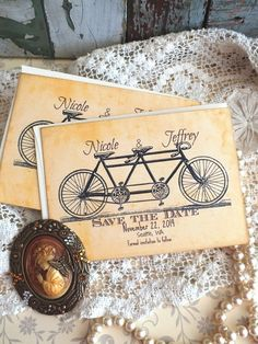Wedding Save the Date Vintage Bicycle by AVintageObsession on Etsy, $39.50
