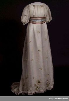 Dress w/ Silk Embroidery  --  1800  --  Norsk Folk Museum  --  Oslo, Norway. Use similar embroidery on the sheers?