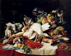 Lucas Schaefels - A Still Life with Fruit, Fish, Game And A...