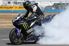 Josh Herrin rippin' a sweet burnout on his Monster Energy/Graves/Yamaha YZF-R1