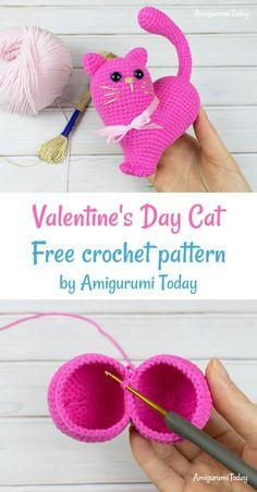 Valentine S Day Cat Crochet Pattern - Amigurumi Crochet Cat Pattern, Crochet Patterns Amigurumi, Amigurumi Doll, Crochet Dolls, Unique Crochet, Cute Crochet, Crochet For Kids, Holiday Crochet, Crochet Gifts
