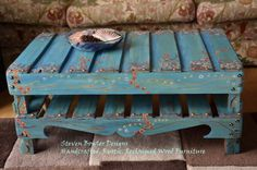Rustic, Shabby Chic, Reclaimed Wood Coffee Table Hand Crafted to Order  in Turquoise with Country Cottage Flowers