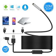Save 70% on AMAZON with code B3O549ZW Pinned on 9/27/2018 USB Endoscope, Ihong 3 in 1 20M 720P 5.5MM HD Borescope Inspection Camera Waterproof Snake Camera with USB Type-C Connector 6 Adjustable LED Lights for Android Windows&MacBook OS Computer Laptop Computer Laptop, Laptop Computers, Android Windows, Electronic Deals, Macbook, Snake, Usb, Coding, Lights