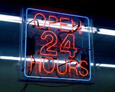 Open 24 Hours Neon Sign Art Photo Late Night Shop Modern American Pop Kitsch Kitchen Decor Commercial Industrial Photography Photo Print