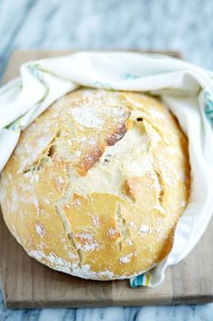 Ridiculously easy bread that is super crusty on the outside and steamy soft on…