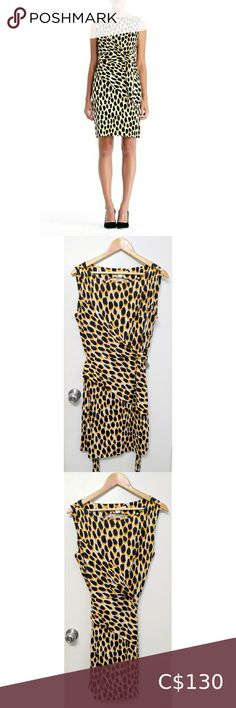 """Diane von Furstenberg dvf silk shina dress size 14 Very good pre-owned condition with light signs of normal wear. Faux wrap style dress. 100% silk. Pattern is animal dots. 21"""" armpit to armpit / 36"""" from top to bottom down the middle Diane Von Furstenberg Dresses Maroon Lace Dress, Vintage Mom Jeans, Purple Mini Dresses, Wrap Around Dress, White Cocktail Dress, Embellished Jeans, Size 14 Dresses, Wrap Style, Diane Von Furstenberg"""