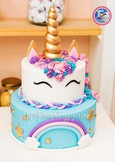 [orginial_title] – Dafina Abazi Spahiu Torta Unicornio arcoiris Torta unicornio arcoiris – Unicorn cake – Rainbow unicorn cake > by [author_name] Diy Unicorn Cake, Unicorn Cake Pops, Dessert Party, Dessert Tables, Bolo Paris, Unicorn Themed Birthday Party, Cake Birthday, Birthday Kids, Unicorn Birthday Cakes