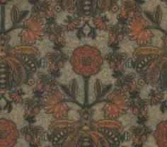 New Bond Street Burnish (0282NBBURNI) - Little Greene Wallpapers - Based on a fragment from an embossed leather wall hanging popular in the late 16th and 17th C, this ornate bejeweled floral design has an aged leather luster background. Shown in Burnish orange colourway. Please request sample for true colour match.