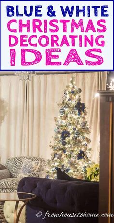 I love this blue and white Christmas home tour. All kinds of Christmas decorating ideas for the tree, living room, table and fireplace mantle. Blue Christmas Decor, Elegant Christmas Trees, Christmas Decorations For The Home, Christmas Table Settings, Christmas Tree Decorations, White Christmas, Christmas Fireplace, Christmas Mantels, Christmas Home