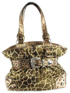 Giraffe Print Hobo Handbag with Rhinestones - Gold Metallic Animal Print Satchel or Tote, Ostrich Embossed