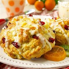 Chopped fresh pears, dried cranberries, and orange zest make delicious scones for breakfast, brunch, or tea time.