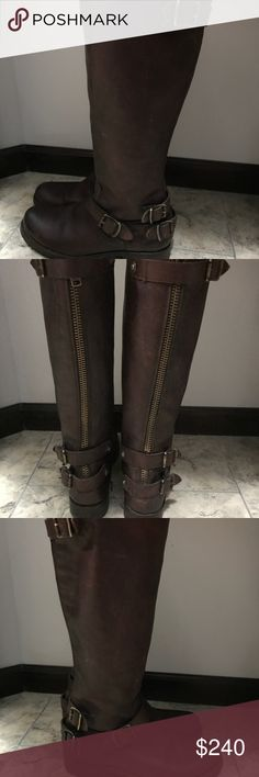 Frye Veronica Back Zip Tall Brown Distressed Beautiful, Frye Veronica Back Zip Tall Distressed Brown Leather Riding Boots Size 9 Frye Shoes Combat & Moto Boots