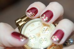 "I can totally do this on my own nails...right? (""Wrapped In Rubies"" by Essie and ""Gold Glitter"" by Milani)"