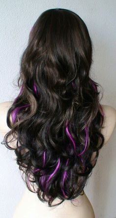 Brown with peekaboo purple highlights