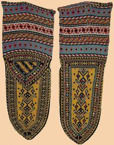 Antique Persian Silk Socks from kurdistan  Qajar Dynasty  1795 -1925 A.D