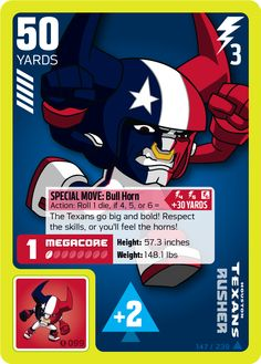 Houston Texans Rusher card from the NFL RUSH ZONE Trading Card Game. #Houston #Texans #HoustonTexans #superbrandnew #NFLRUSHZONETCG #TCG #NFL #football #Megacore #PowerStickerz #stickers #tradingcardgame #kickoff #rushzone #RZ #rushzonetcg #TCG #touchdown #winthegame #SwatchCards #TDTokens #Token #touchdowntoken #MattCullen #Rusher #Rusherz