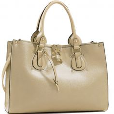 Studded Fashion Tote Bag with Lock Accent & Bonus Strap beige