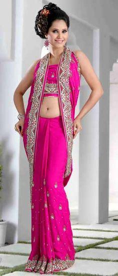 Deep #Pink Jacquard #Saree With Blouse @ $345.84   Shop Here: http://www.utsavfashion.com/store/sarees-large.aspx?icode=skk13475