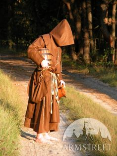 Medieval Fantasy Monk Robe with overcoat, hood and Original monks pouches bags
