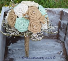 Mint Burlap Wedding Bouquet Rustic Burlap Bouquet by EmaCreates
