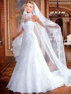 Custom Made High Neck Sleeveless A Line Lace Wedding Dress Vestido De Noiva 2015 Sexy Open Back Bride Dresses Robe De Mariage