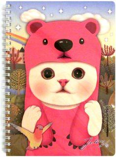 Jetoy Spring Note Big Spiral Notebook: Pink Bear http://shop.kawaiidepot.com