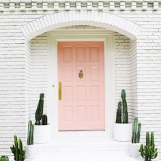Cute palm Springs inspired exterior: white brick, pink door, tons of cacti! Home Design, Design Ideas, Home Interior, Interior And Exterior, Interior Doors, Design Exterior, The Doors, Entry Doors, Sliding Doors