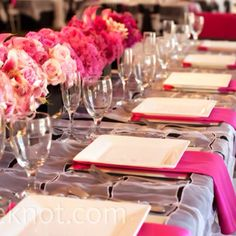 Table: I like how the bright napkins are displayed under the plates. This would eliminate need for table runners. Just a white/cream base, and super bright napkin under pretty disposable plate.