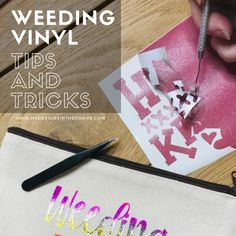 Let's chat about weeding vinyl. I'm going to show you all my best tips and tricks that you must know to make the weeding vinyl process easy! Diy Vinyl Projects, Vinyl Crafts, Circuit Projects, Crafty Projects, Cricut Craft Room, Cricut Vinyl, Cricut Air, Silouette Cameo Projects, Silhouette Projects