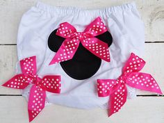 Hot Pink Polka Dot Minnie Mouse Inspired by ButterfliesnLadybugs, $14.00