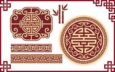 Illustration of Vector Set of Oriental Chinese Design Elements vector art, clipart and stock vectors. Design Page, Art Design, Design Elements, Chinese Design, Chinese Style, Asian Style, Pattern Art, Print Patterns, 3d Templates