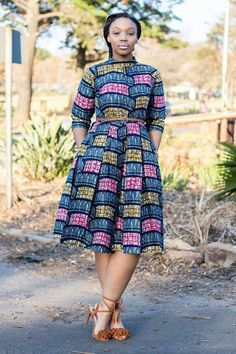 Multi-colour African print dress by EssieAfricanPrint on Etsy African Print Dresses, African Dresses For Women, African Wear, African Attire, African Women, African Prints, African Patterns, African Clothes, African Style