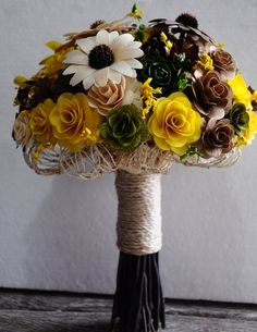 Yellow Green Brown Rustic Wood Bouquet | AccentsandPetals - Wedding on ArtFire