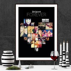 Design en plakat med alle dine favoritveninder fra året der gik. Photo Wall, Dining, Frame, Home Decor, Pictures, Picture Frame, Photograph, Food, Decoration Home