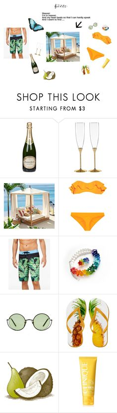 """Cheek to cheek"" by gucya ❤ liked on Polyvore featuring Perrier-JouÃ«t, Kate Spade, Pottery Barn, Lisa Marie Fernandez, Quiksilver, Ancient Greek Sandals and Clinique"