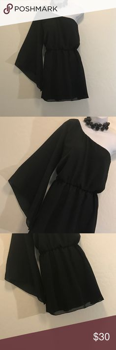 Black One Shoulder Cocktail Dress Never Worn, One Sheer Sleeve, Lined, Elastic Waist, Perfect for any party  Tramp Dresses One Shoulder