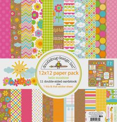 Introducing Hello Sunshine Collection & Giveaway with Doodlebug Design - 11 sheets of lovely double-sided cardstock and a this & that sticker sheet