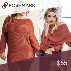 New Plus size sweater tunic top chunky knit Brick This listing Is for Brick Rust color knit soft chunky ribbed tunic sweater top. fold over neck, long sleeves.  Luxurious soft and comfy. Super sexy. Pairs with leggings, jeans, or boots. Cotton blend. ‼️price is firm unless bundled‼️ Botutique Sweaters